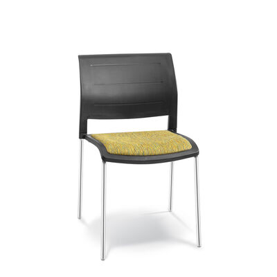 CONNECT Chair 4 leg upholstered seat polyprop back
