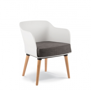 LOBBY ARMCHAIR 4 leg Timber Polyprop - Lobby timber White