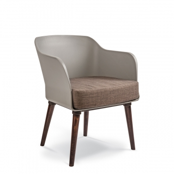LOBBY ARMCHAIR 4 leg Timber Polyprop - Lobby timber stain Grey