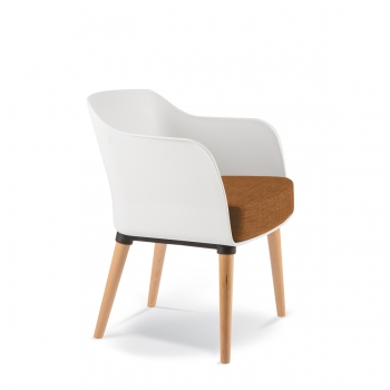 LOBBY ARMCHAIR 4 leg Timber Polyprop - Lobby timber White 1